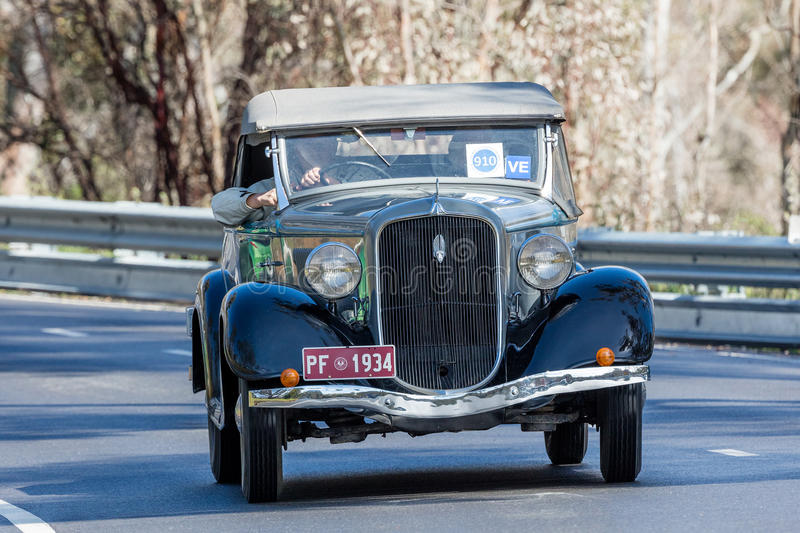 1934 Plymouth PF Roadster. Adelaide, Australia - September 25, 2016: Vintage 1934 Plymouth PF Roadster driving on country roads near the town of Birdwood, South stock images