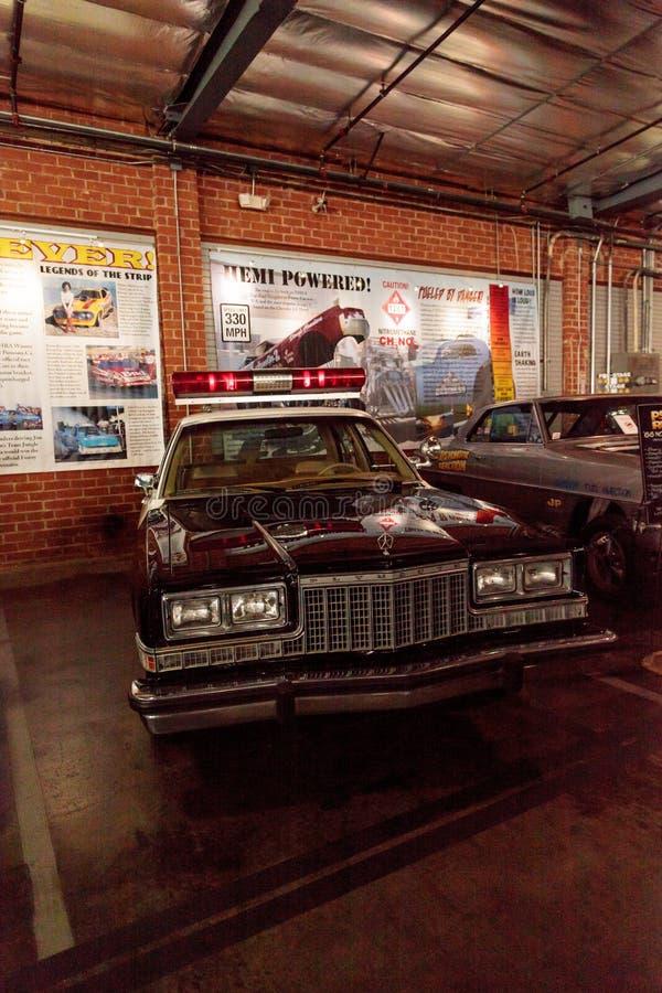 1978 Plymouth police car. El Segundo, CA, USA - September 26, 2016: 1978 Plymouth police car displayed at the Automobile Driving Museum in El Segundo, California royalty free stock photos