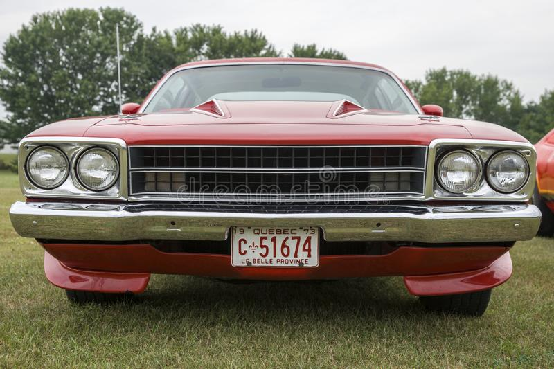 Plymouth road runner front end. Picture of vintage plymouth road runner front end during convention chrysler at st liboire august 4-5 2018 stock images