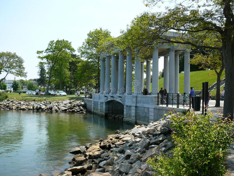 Plymouth Rock Monument stock photo