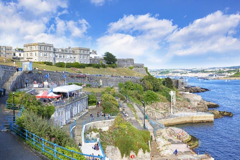 Plymouth-Waterkant Devon het UK stock afbeeldingen