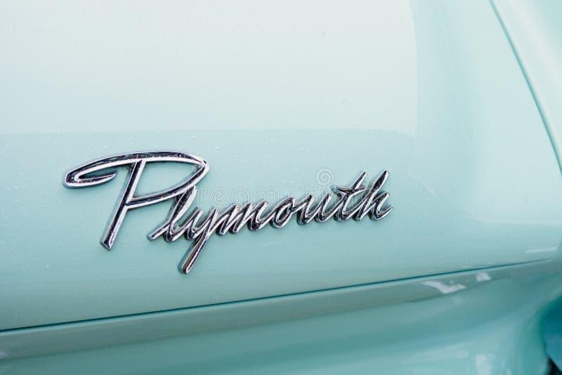 Plymouth White Vintage Automobile stock photos