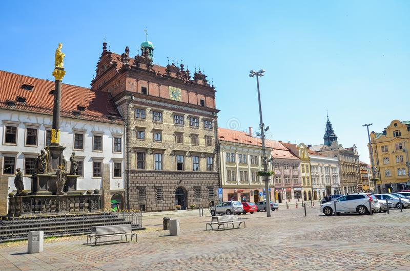 Plzen, Czech Republic - June 25, 2019: The main square in Pilsen, Czechia with Rennaisance City Hall building and St. Mary`s royalty free stock photo