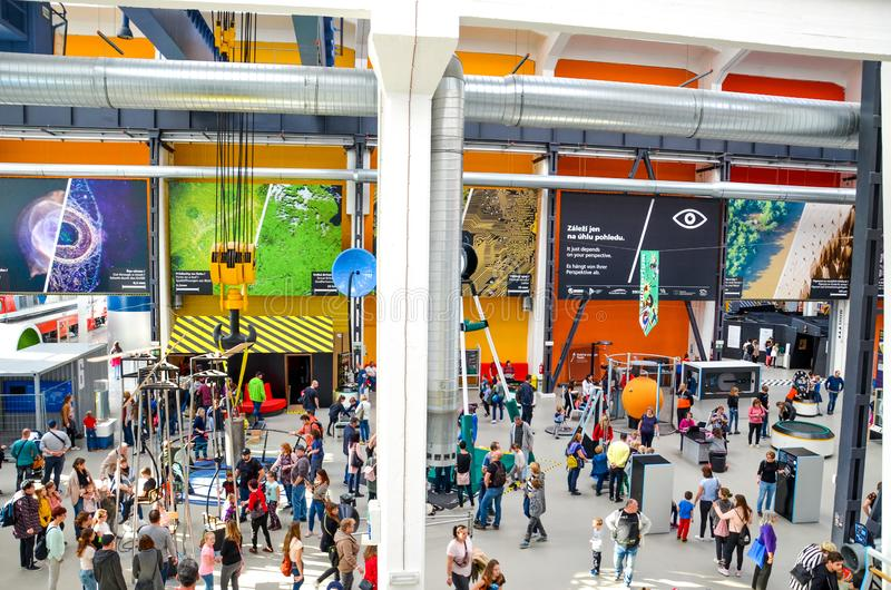 Plzen, Czech Republic - Oct 28, 2019: Interior of the Techmania Science Center in Pilsen, Czechia. Exhibitions explaining. Scientific principles to children by royalty free stock images