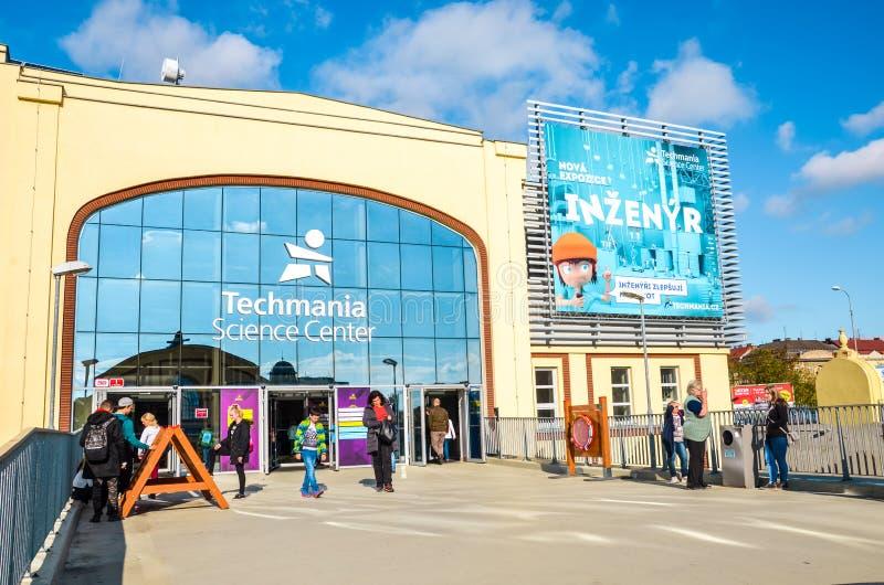 Plzen, Czech Republic - Oct 28, 2019: Main entrance of the Techmania Science Center in Pilsen, Czechia. Exhibition explaining. Scientific principles by means of royalty free stock photos