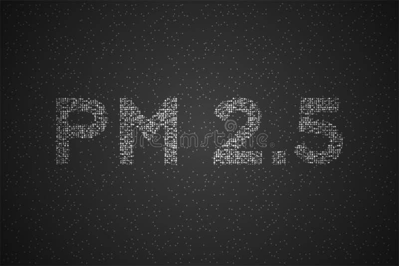 PM 2 5文本抽象几何圈子小点映象点样式,污染构思设计在黑色隔绝的白色例证 向量例证