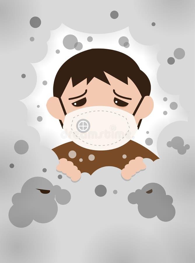 PM2 5 barn med farlig dimma Ohälsosamma luftföroreningar royaltyfri foto