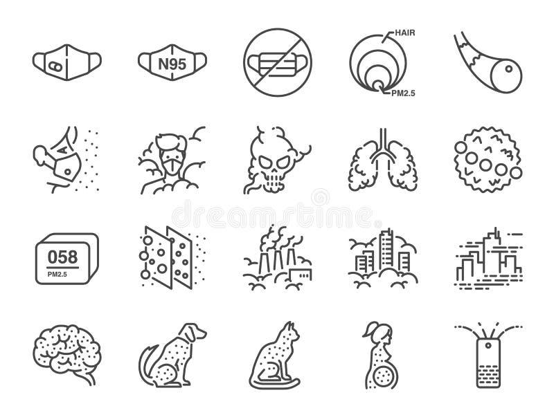 Pm2 Linea insieme di inquinamento atmosferico 5 dell'icona Icone incluse come fumo, smog, inquinamento, fabbrica, polvere e più illustrazione vettoriale
