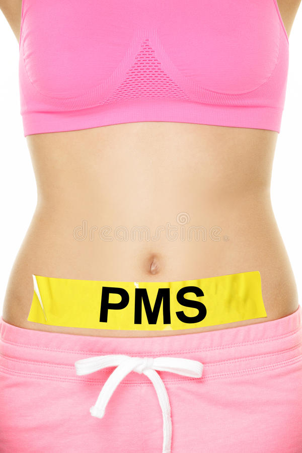 PMS - Conceptual Tape on Woman Stomach with Text royalty free stock image