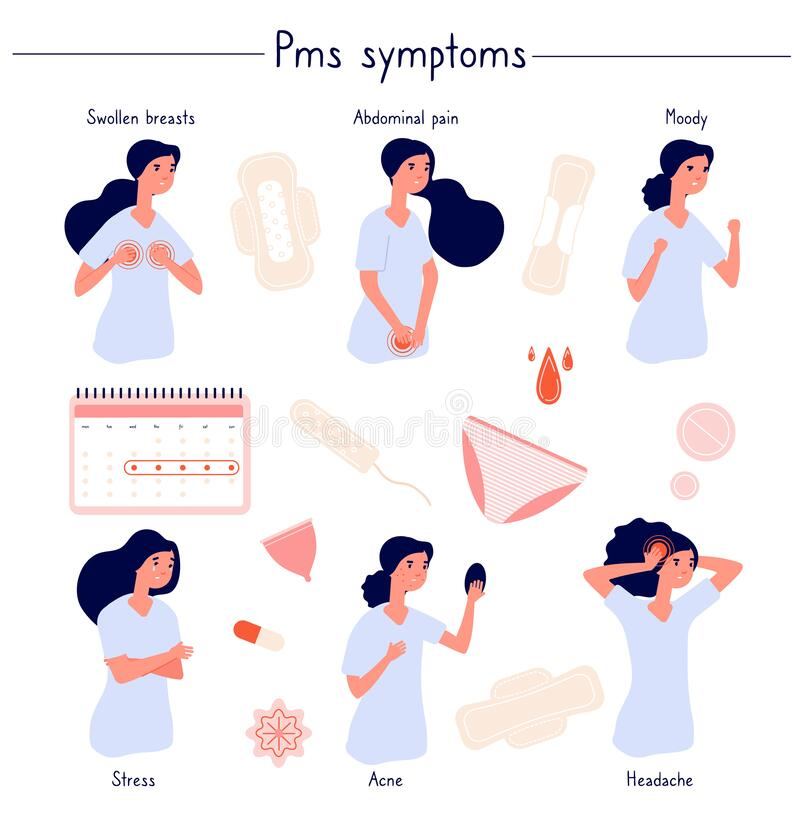 Free PMS Symptoms. Female Stress, Abdominal Pain, Acne And Moody. Woman Period Problems. Isolated Menstrual Syndrome, Panty Royalty Free Stock Images - 169844969