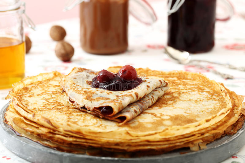Pnacakes. Breakfast with pancakes and jam royalty free stock photography