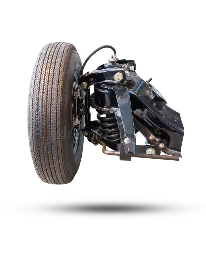 Pneu novo e amortecedor do carro da movimentação de roda dianteira isolados no wh fotografia de stock