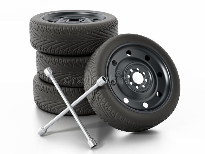 Pneumáticos do carro e chave de reposição da porca da roda ilustração 3D ilustração do vetor