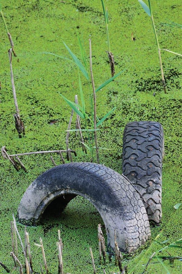 Pneumáticos velhos rejeitados na poça contaminada da lagoa, poluição de água fotos de stock