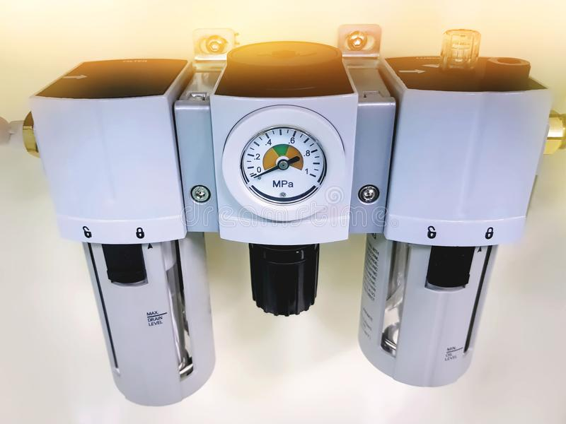 Pneumatic Air Filter and Pressure Regulator Unit royalty free stock images