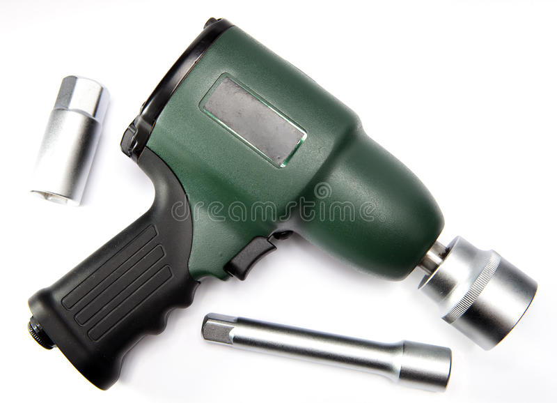 Pneumatic, air impact wrench and nozzles.  stock photos