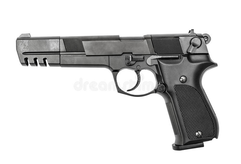 Pneumatic air pistol calibre 4,5mm. Isolated on the white stock photography