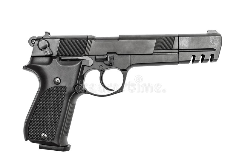 Pneumatic air pistol calibre 4,5mm. Isolated on the white royalty free stock photography