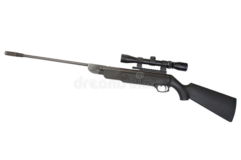 Pneumatic air rifle. With optical sight isolated on white background royalty free stock photos