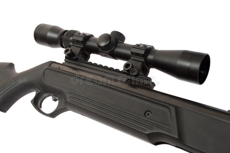 Pneumatic air rifle with optical sight. Isolated on white background stock photo