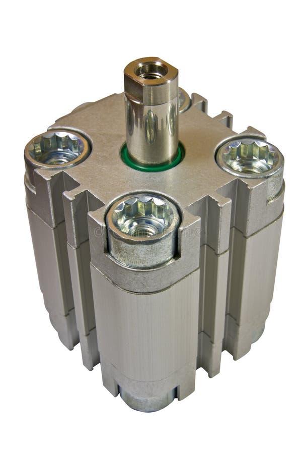 Pneumatic cylinder standart. Pneumatic cylinder, machine part, on white background isolate royalty free stock photo
