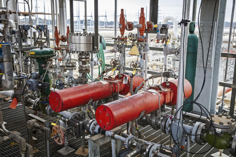 Pneumatic Emergency Shutoff Valves. For refinery or chemical plant royalty free stock photos