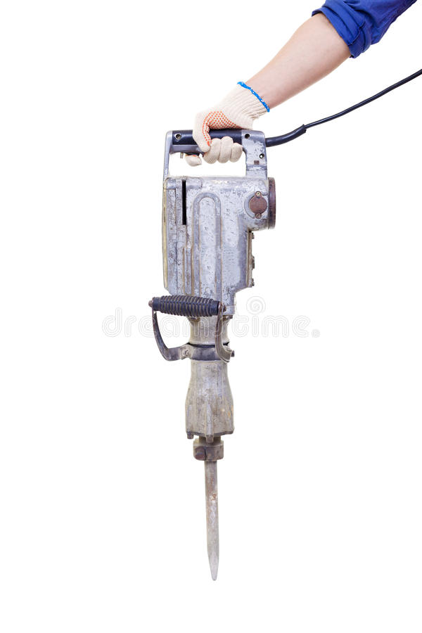 Pneumatic hammer drill equipment isolated stock images