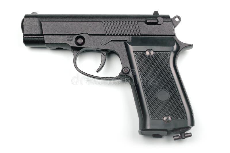 Pneumatic pistol isolated on white background. Black pneumatic pistol isolated on white background stock image