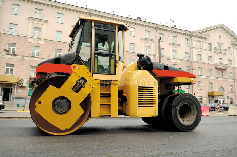 Pneumatic tyred roller compactor machine stock photo