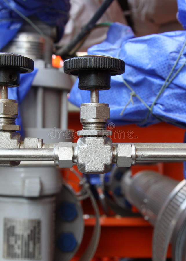 Pneumatic valve at an oil and gas industrial. Pneumatic valve at an oil and gas platform royalty free stock image