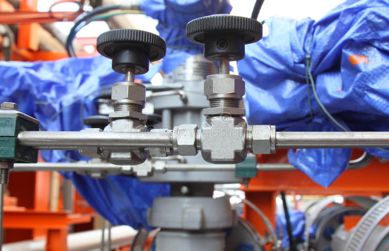 Pneumatic valve at an oil and gas industrial. Pneumatic valve at an oil and gas platform royalty free stock photos
