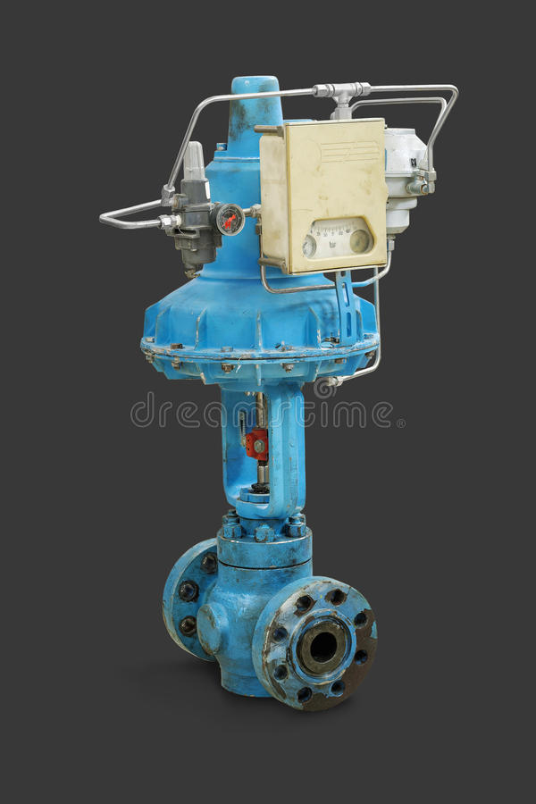 Pneumatic valve. Old pneumatic valve. Close-up isolated on gray background stock images