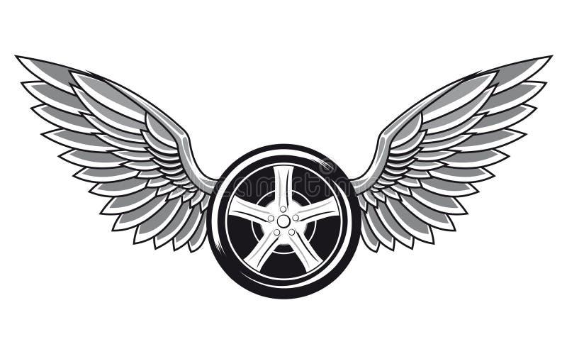 Pneumatico di ruota con le ali illustrazione di stock