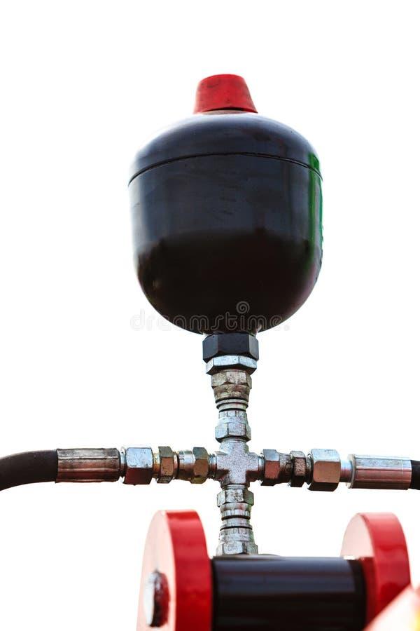 Pneumatische, hydraulische Maschinerie hergestellt von der Stahlnahaufnahme lizenzfreie stockbilder