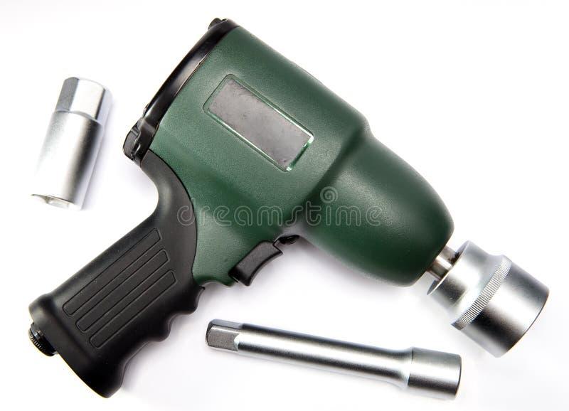 Pneumatisk, luftinverkanskiftnyckel och dysor arkivfoton