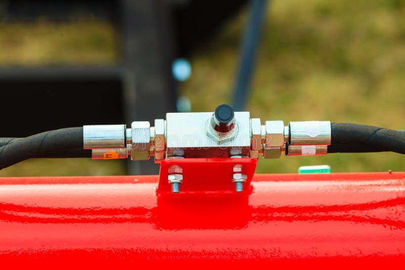 Pneumatyczna, hydrauliczna maszyneria robić stalowy zbliżenie, fotografia royalty free