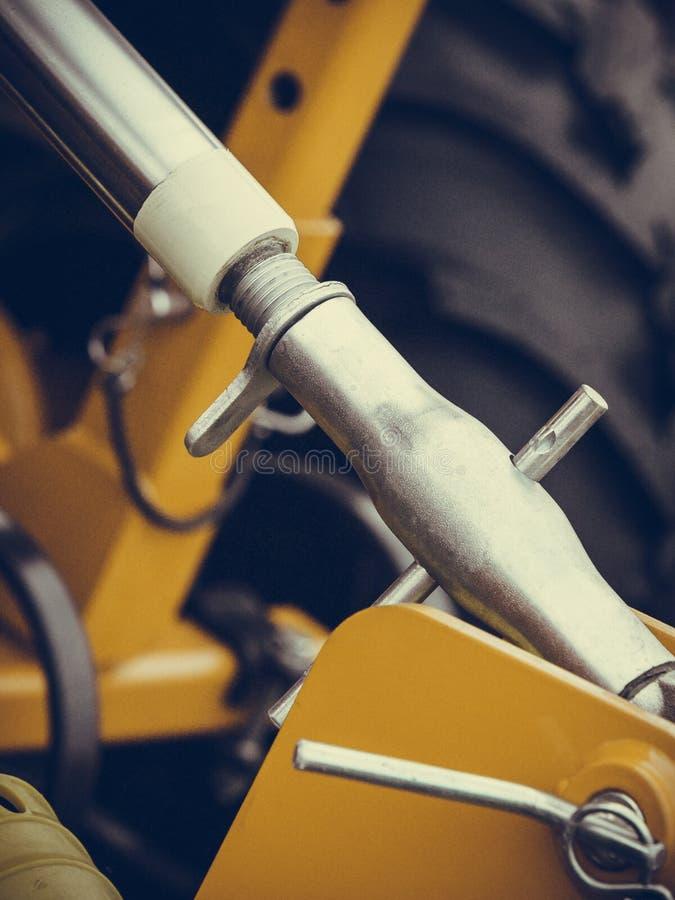 Pneumatyczna, hydrauliczna maszyneria robić stalowy zbliżenie, zdjęcia stock