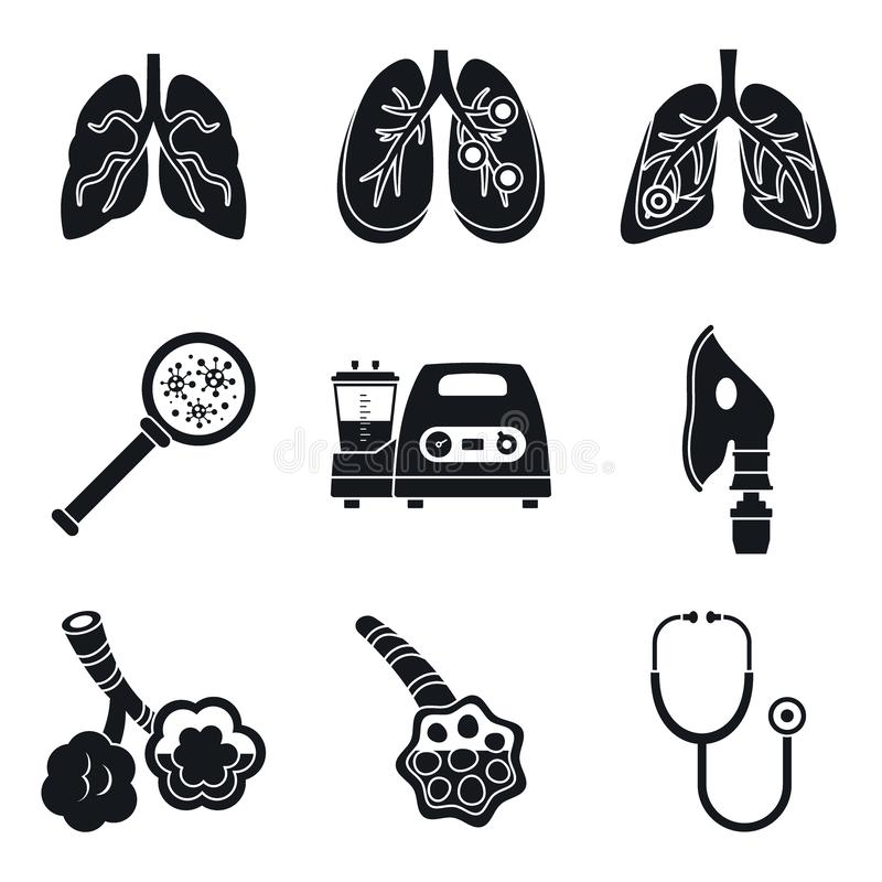 Pneumonia day icon set, simple style vector illustration