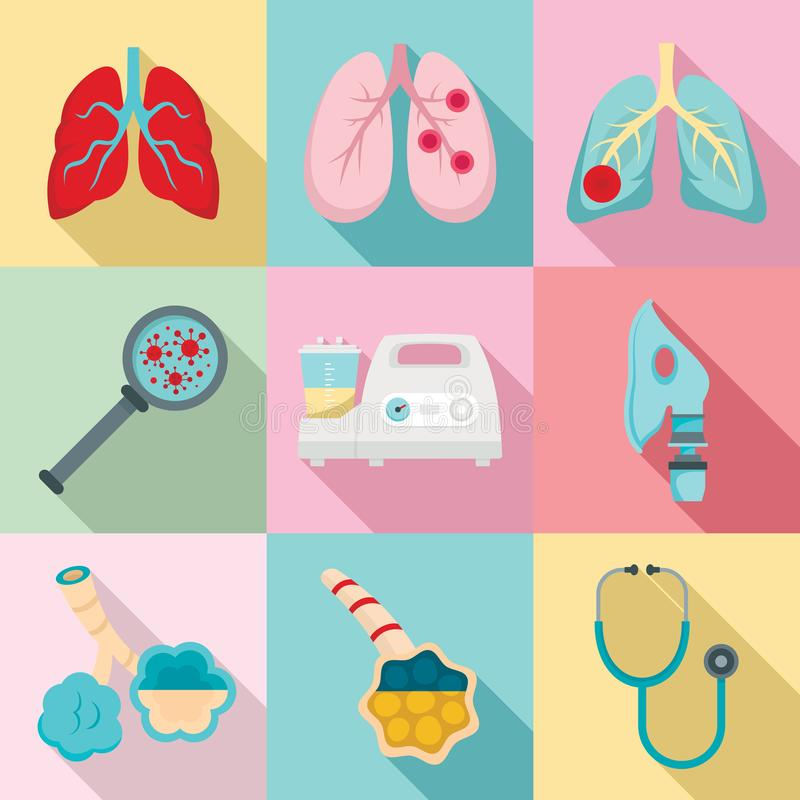 Pneumonieikonensatz, flache Art lizenzfreie abbildung