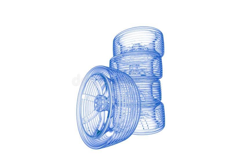 Pneus (bleu de rayon X 3D sur le blanc) illustration stock
