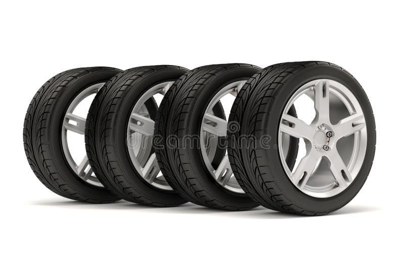 pneus 3d et roue d'alliage illustration libre de droits