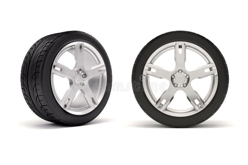 pneus 3d et roue d'alliage illustration stock