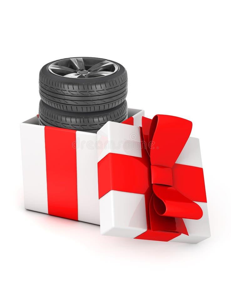 Pneus dans un boîte-cadeau illustration stock