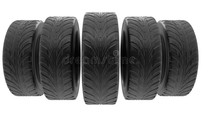 Pneus das rodas de carro ajustados isolados no fundo branco 3d rendem a ilustração realística do auto pneu Para o cartaz do proje ilustração royalty free