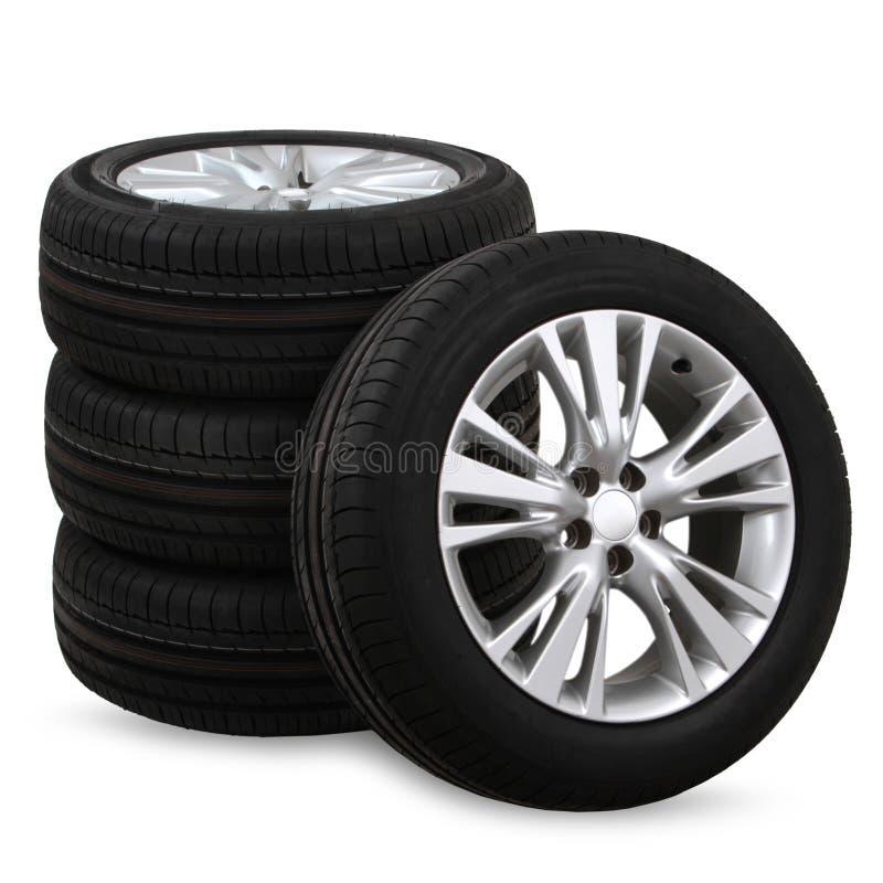 pneus de carro em um fundo branco foto de stock royalty free