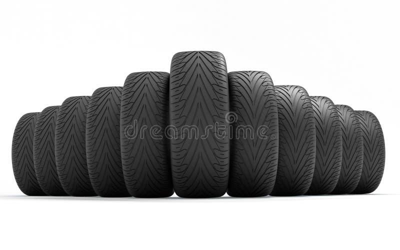 Pneus de la voiture Seringue du concept design l'illustration 3d rendent illustration stock