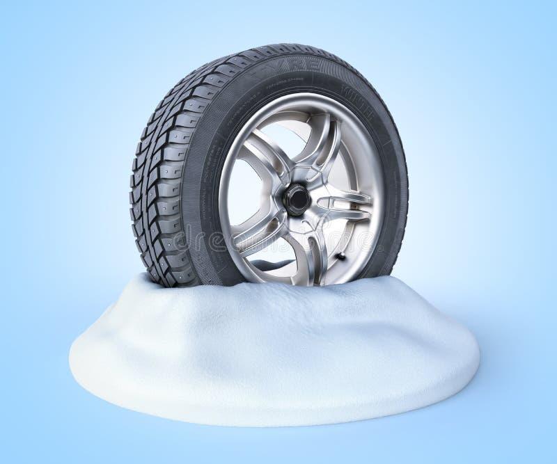 Pneus de neige sur une neige 3d rendre sur le bleu illustration libre de droits