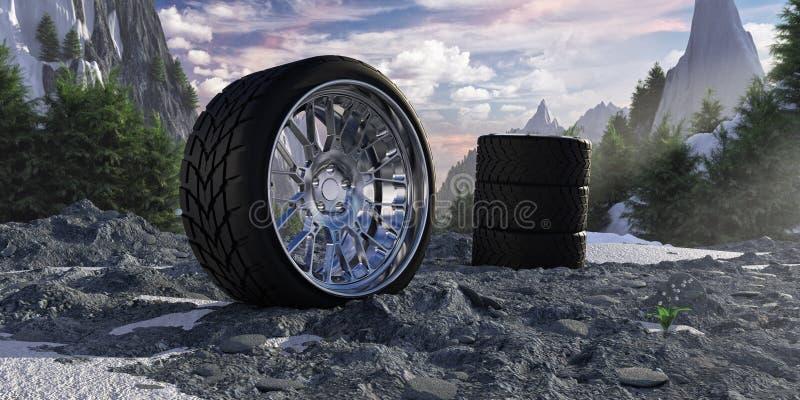 Pneus do inverno em montanhas nevado O conceito do serviço do carro e do encaixe do pneu imagens de stock