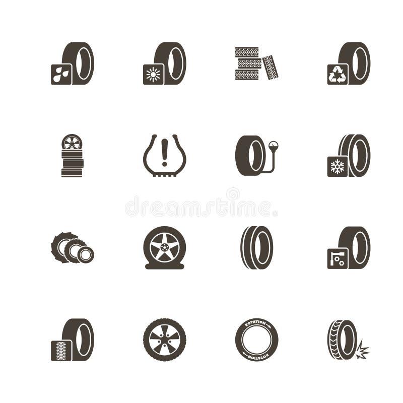 Pneus - icônes plates de vecteur illustration stock