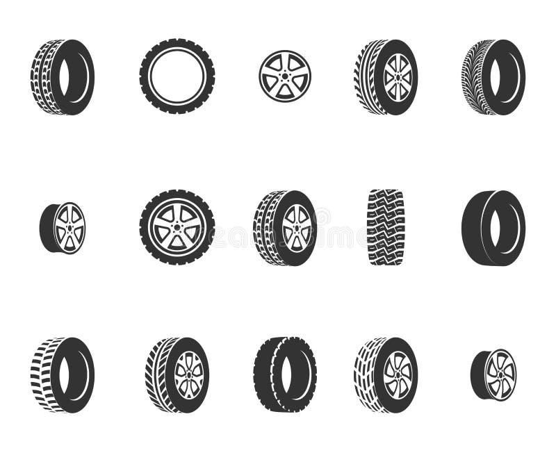 Pneus, icônes automatiques de vecteur de service de disques de roue illustration de vecteur